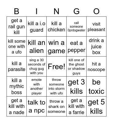 fortnite bingo Card
