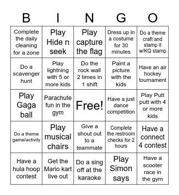 Kids Quest Floor Bingo Card