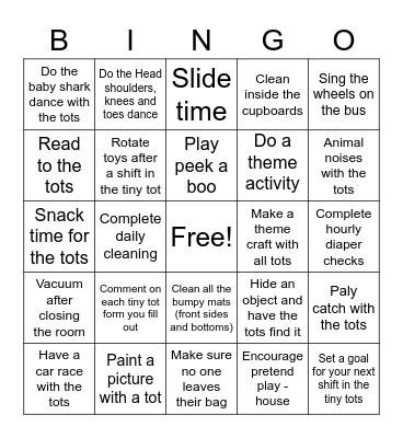 Kids Quest Tiny Tot Bingo Card