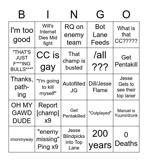 The Gaming Buddies LoL Experience Bingo Card