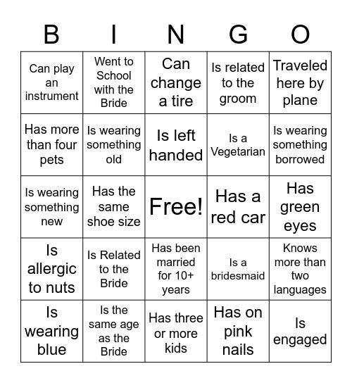 Bridal Shower Guest Bingo Card