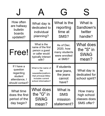 The Jaguar's Spot Bingo Card