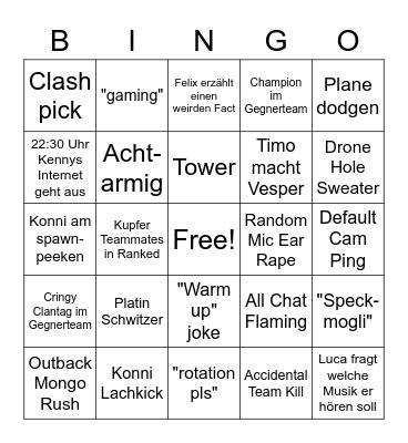 CHEF Siege Bingo Card
