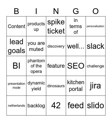 Sprint Review Bingo Card