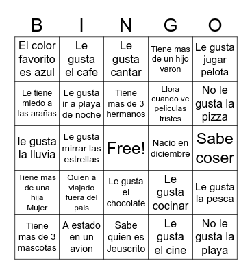 Bingo quien es? Bingo Card