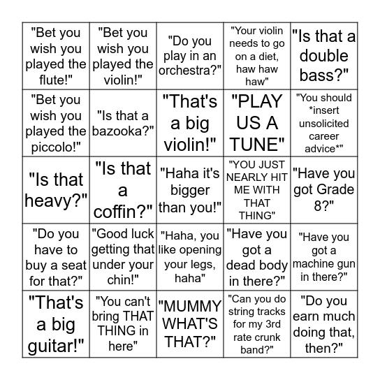 Cellist Bingo Card
