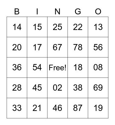Untitled Bingo Card