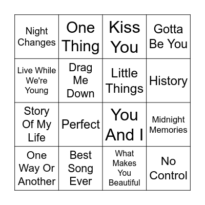 One Direction Bingo Card