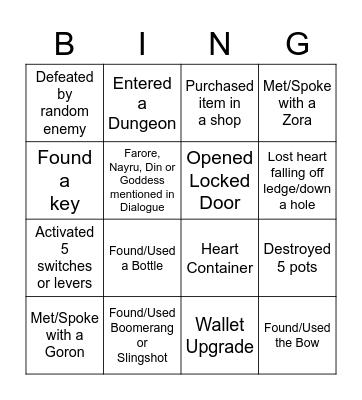 Generic Zelda Bingo Card