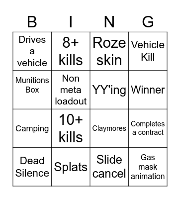Warzone Solo's Bingo Card