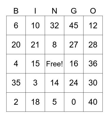 Bingo - 3 ano online Bingo Card