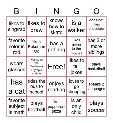 Get to Know You! Bingo Card