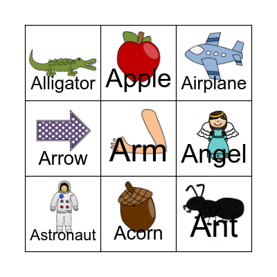 A is for... Bingo Card