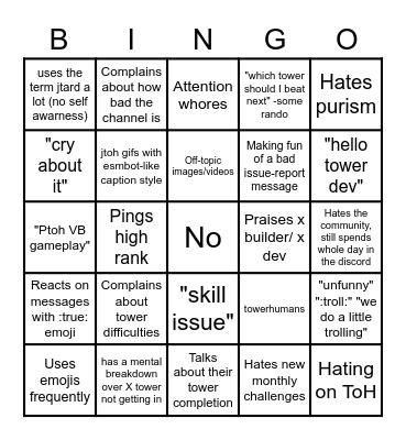 JTOH-DISCUSSION BINGO CARD Bingo Card