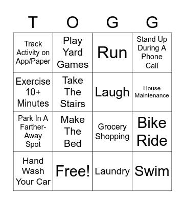 Gilbert Wellness: Activity BINGO Card