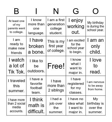 Passage To Success Bingo Card