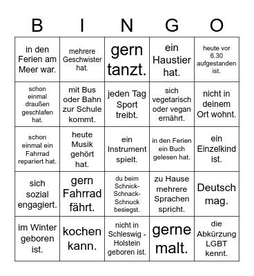 Finde eine Person, die ... Bingo Card
