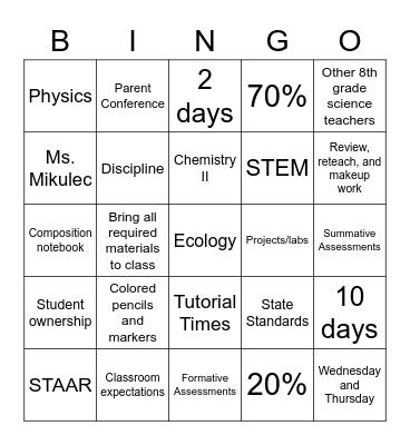 Syllabus Bingo Card