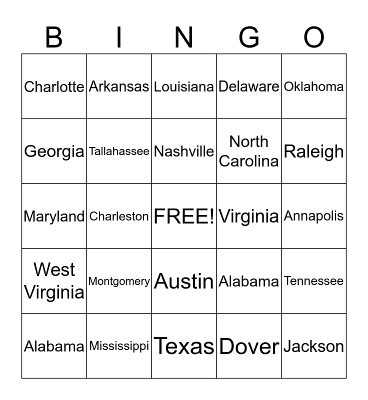 South Region - States and Captials Bingo Card