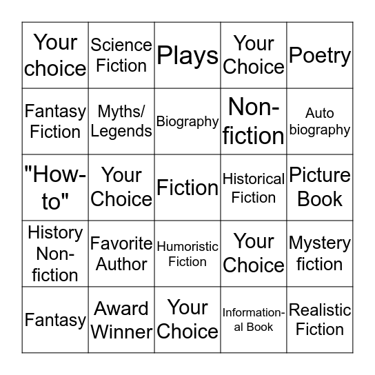 Reading Genres Bingo Card