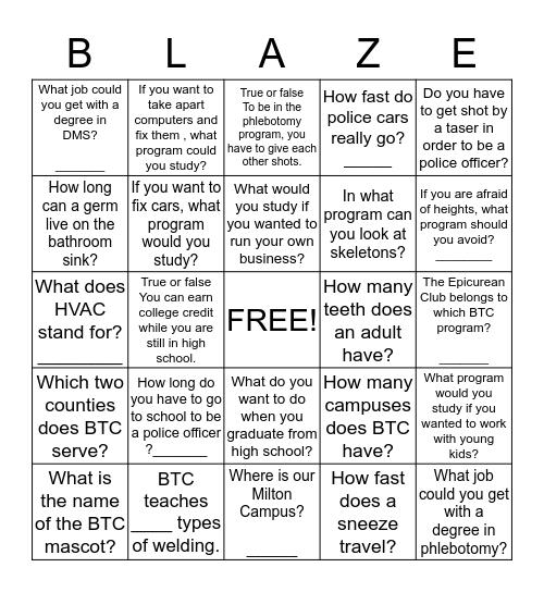 Clinton Middle School Bingo Card