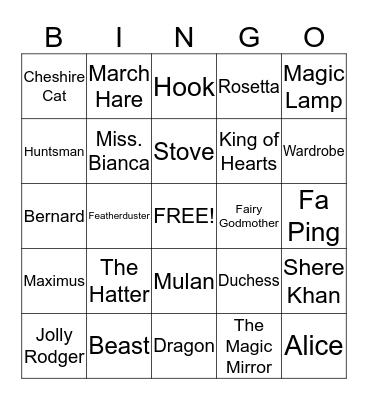 Disney fun Bingo Card