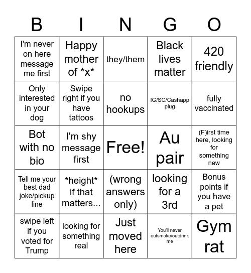 Tinder bio Bingo Card