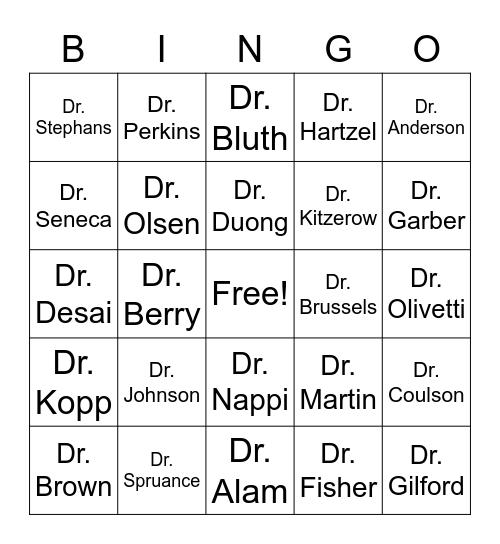 Providers Bingo Card