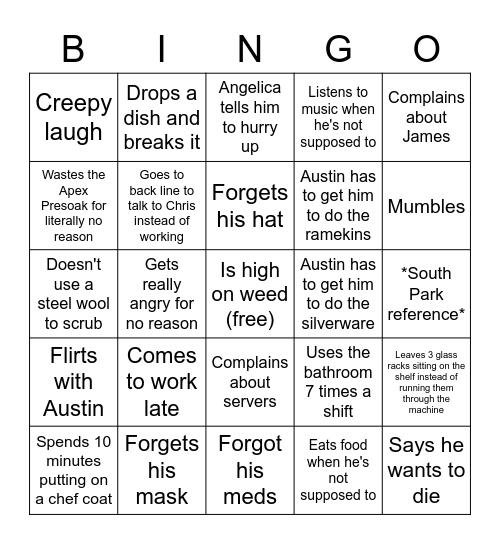 Cameron Bingo Card