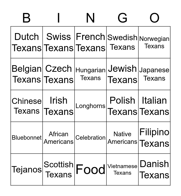 Texas Culture Bingo Card