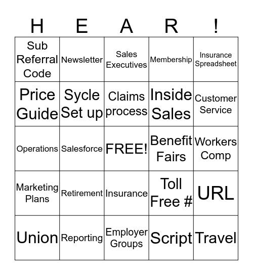 Account Manager Bingo Card