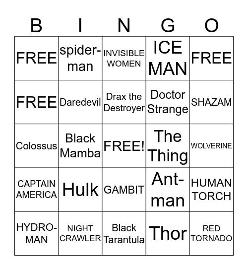 marvel  superheroes Bingo Card