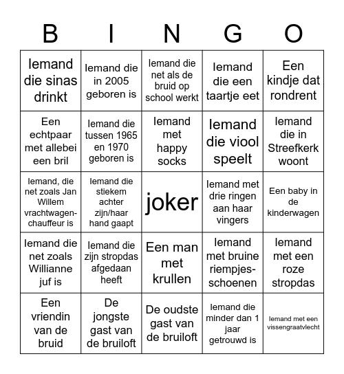 Bruiloft bingo Card