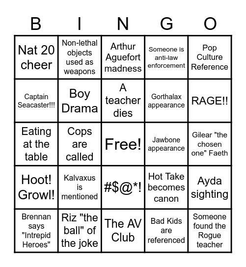 Dimension 20: The Seven Bingo Card