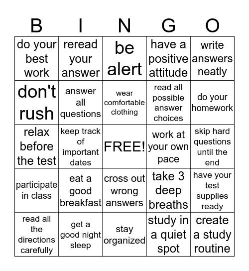 STUDY Bingo Card
