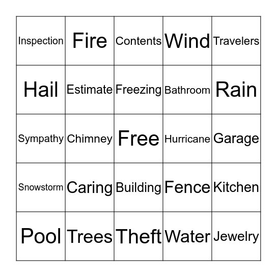 Property Bingo Card