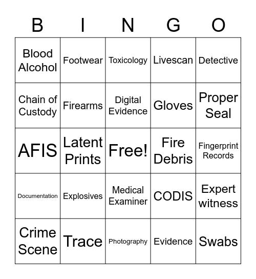 Forensic Bingo Card