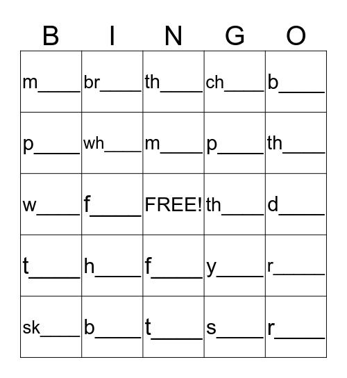 -an, -in, -en, -un Phonics Bingo! Bingo Card