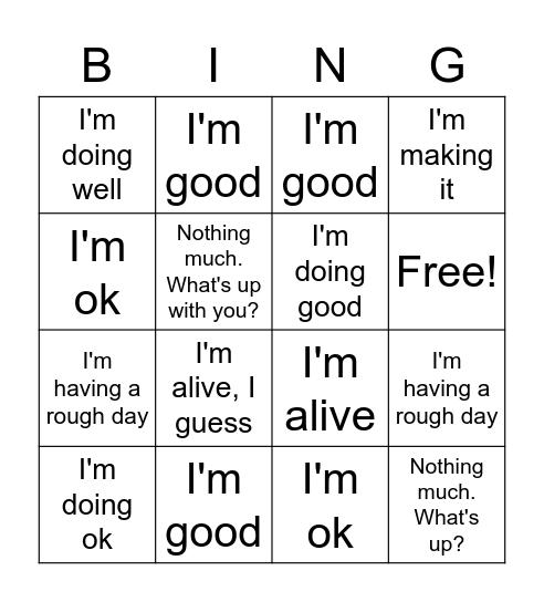 How are you? Bingo Card