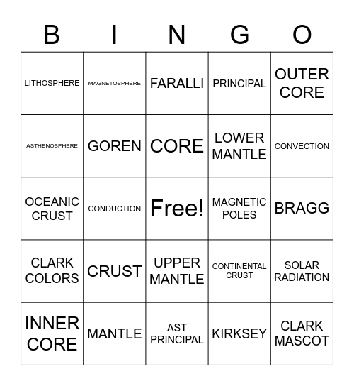 Earth's Layers Bingo Card