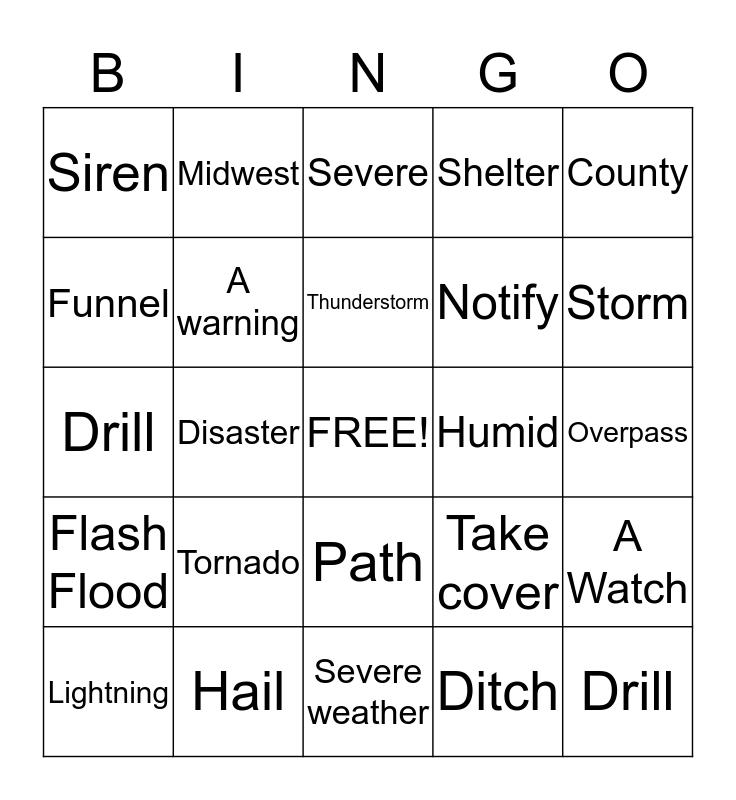 Tornado Vocabulary Bingo Card