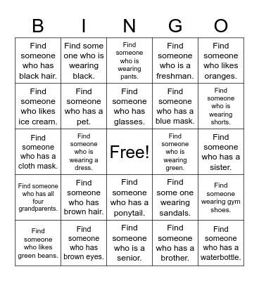 School Friends Bingo Card
