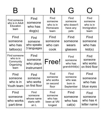 VAI Bingo Card
