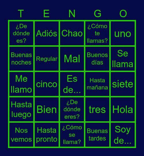 Spanish 1 U1: Greetings/Despedidas/Intros Bingo Card