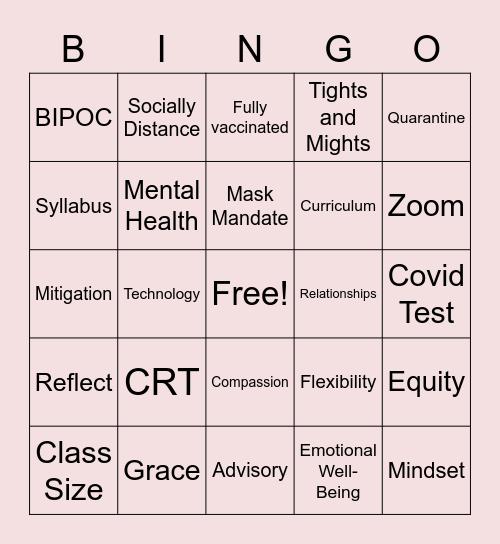 Staff Development SS Bingo! Bingo Card