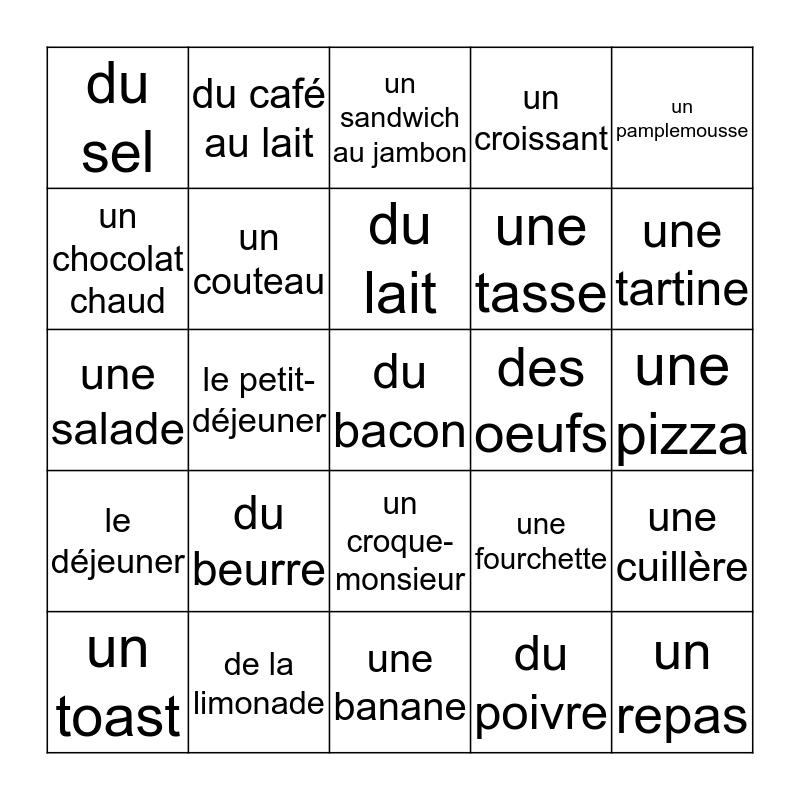 Français Bingo Card