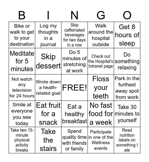 Wellness Week Bingo Card