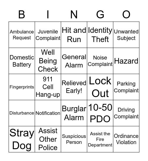 DISPATCHER BINGO - Card 10 Bingo Card