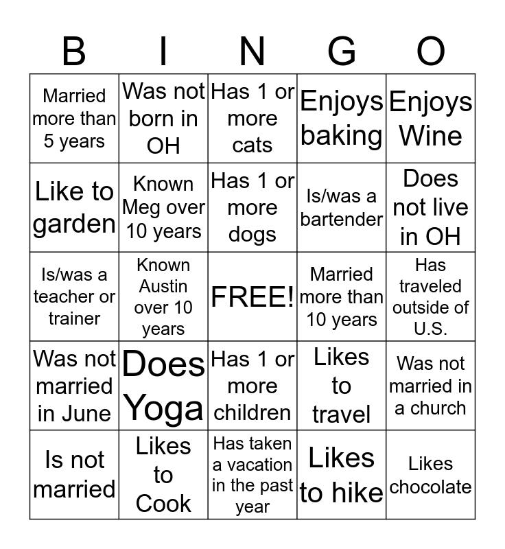 Meghan's Bridal Shower Bingo Card