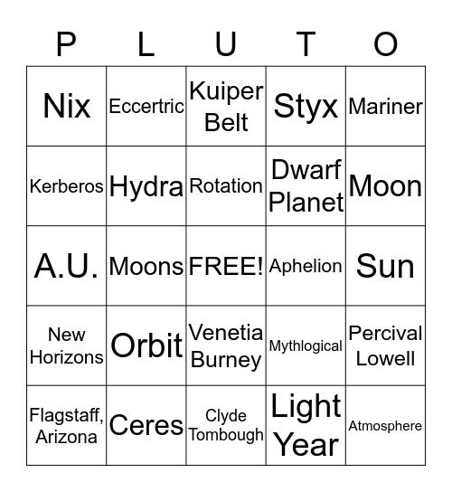 Pluto Bingo Card